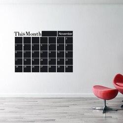 1 pc novo mês plano calendário mensal parede quadro negro adesivo casa decalques mesa escola artigos de papelaria artigos de escritório conjuntos
