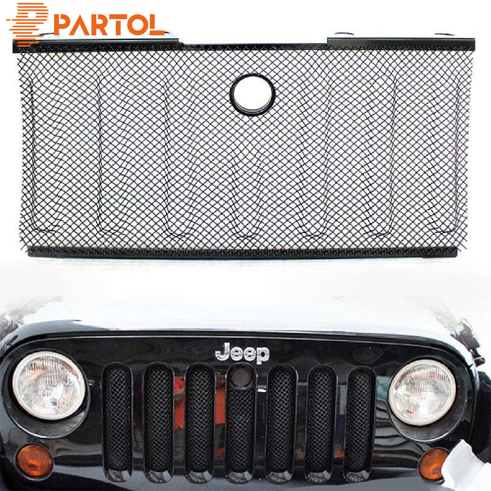 Partol Mesh Grill Insert Grille Front Bumper Racing Grille For Jeep Wrangler JK 2007 2008 2009 2010 2011 2012-2015 Car Styling partol mesh grill insert grille front bumper mesh grill forjeep wrangler jk 2dr 4dr 2007 2017 car styling with glared eagle eye