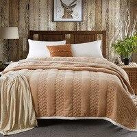 Winter stripe Blanket Thicken warm bed cover 200*230cm 3.4kgs coral fleece duvet 180*200cm bedspread Flannel fleece quilts bed