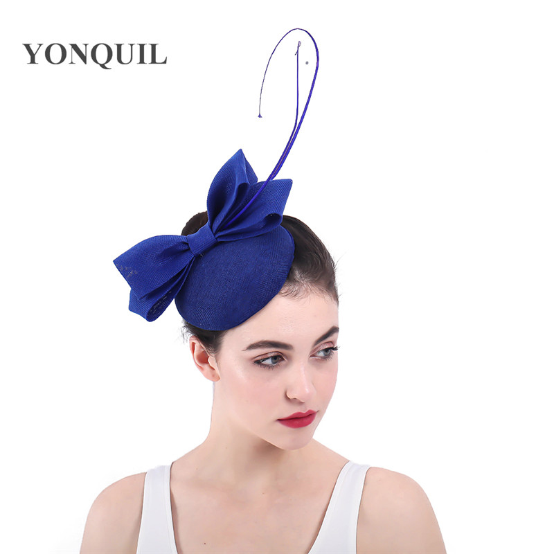Ladies Church Hats Royal Blue Gorgeous Fascinators Wedding Headbands With Bow And Quill Imitation Sinamay Party Fascinator Hat