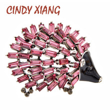 CINDY XIANG Summer New Arrival Crystal Hedgehog Porcupineb Brooches For Women Vintage Animal Pin Fashion Cute Jewelry 3 Colors
