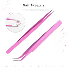 1 Pcs Nail Tools Wholesale Art Pink Elbow Straight Tweezers Diamond Clip Jewelry