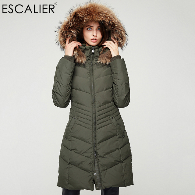 Escalier Women Down Coats Long Parka Removable Raccoon Fur Hooded ...