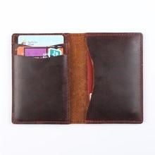 Новое поступление мужские кредитные карты ID Держатели винтажный дизайн коричневый Crazy Horse кожа Индивидуальные бизнес унисекс бумажник оптом