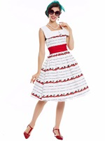 Sisjuly Latest Dress Designs For Ladies Fashion European Square Collar Strap And Cherry Patterns Vintage Long