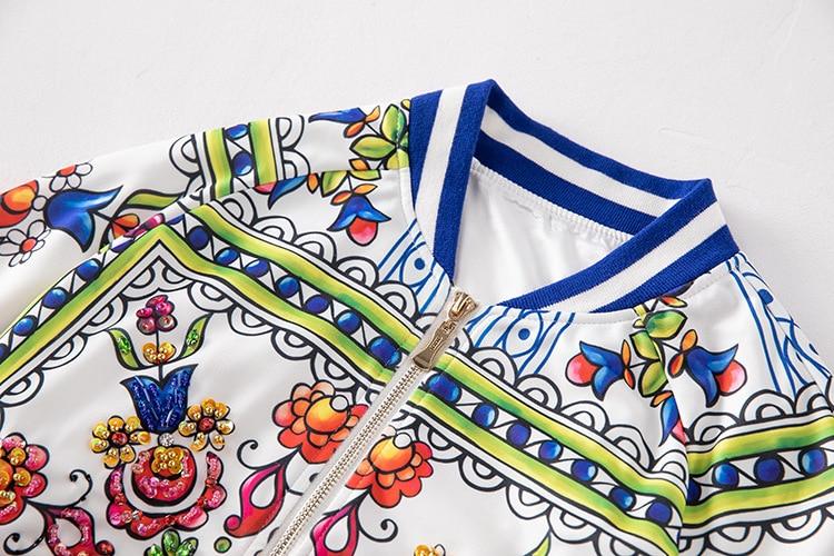 Ensemble Qyfcioufu Définit Manches De Veste Bleu Pantalon Survêtement Pièces Floral Vêtements Femmes Costume Deux Femelle Imprimer Casual Perles Piste Longues qwrTfXgYrx
