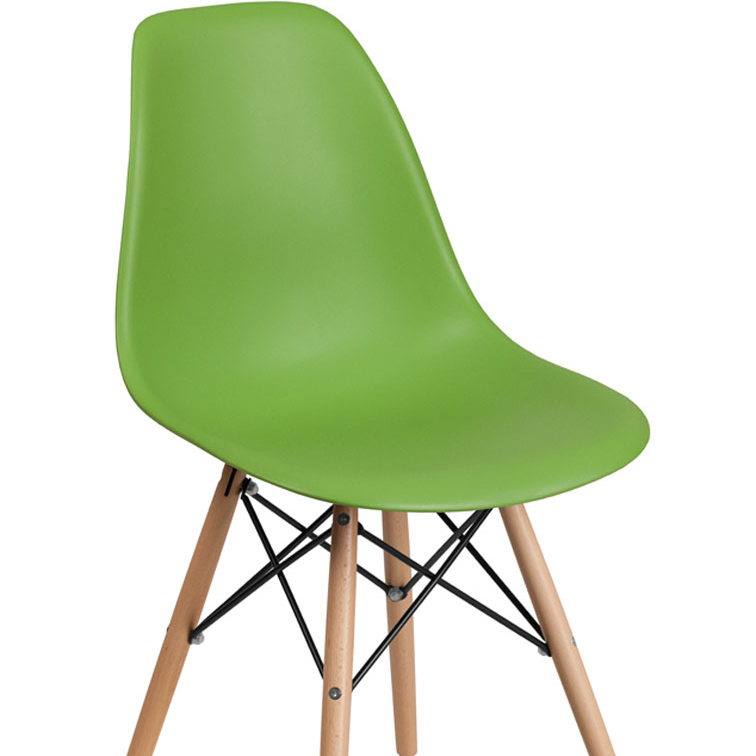 Flash Furniture Elon Series Plastic Chair With Wood Base, Green цена