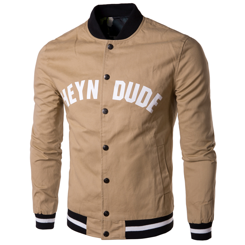 brand white jacket men 2015 fashion letter printed printed mens slim baseball jacket casual college varsity jakcet veste homme in jackets from mens