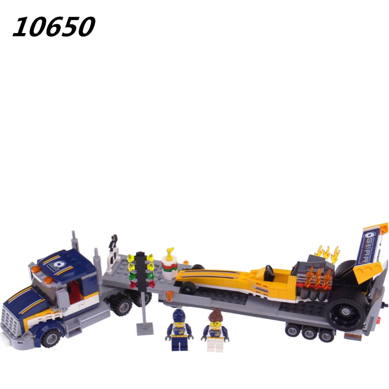 10650 345Pcs City Figures Dragster Transporter Model Building Kits Blocks DIY Bricks Toy For Children Gift Compatible 60151 lepin 02025 city the high speed racer transporter 60151 building blocks policeman toys for children compatible with lego