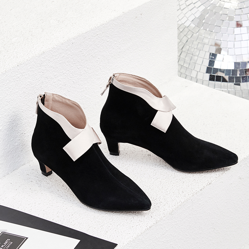 Plus Size 33-42 Women's Genuine Suede Leather Bowtie Bordered Autumn Ankle Boots Kitten Heel Pointed Toe Short Booties Shoes Hot women s low heel pointed toe ankle boots brand designer sweet bowtie patchwork short booties genuine leather shoes for women hot