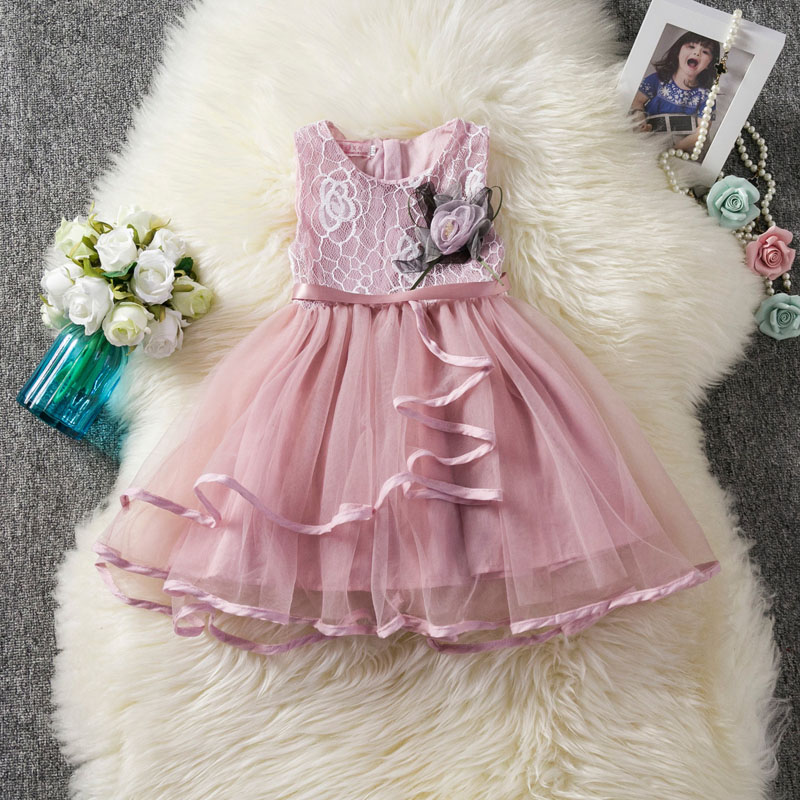 U-SWEAR 2019 New Arrival Kid   Flower     Girl     Dresses   Lace Lovely O-Neck Sleeveless Soft Chiffon Ribbon Side   Girls   Pageant   Dresses