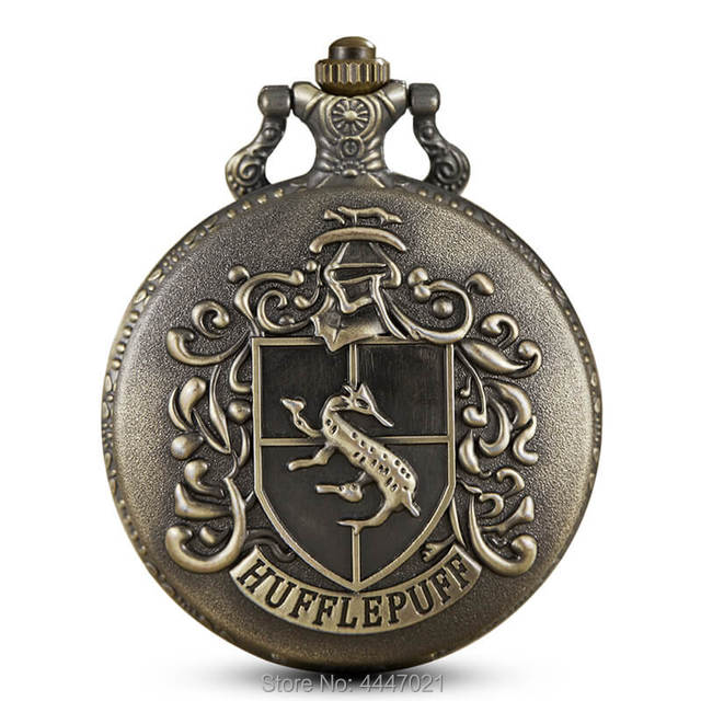Harry Potter Theme School Hufflepuff Pocket Watches Quartz Engrave Pocket Watch