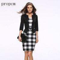 Phụ nữ Thương Hiệu Váy Thanh Lịch Phù Hợp Với Công Việc Kinh Doanh Chính Văn Phòng Ăn Mặc Giả 2 Cái Áo Chẽn Đảng Pencil Dress Maxi Vestidos B
