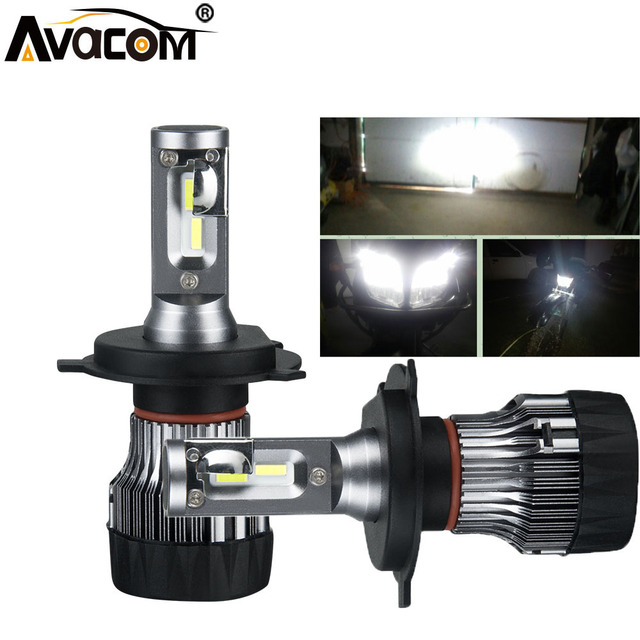Avacom 2 Pieces LED H4 HS1 Motorcycle Headlights Bulbs 12V 60W 6500K 10000Lm H7 H11 LED Lights For Motorbike Scooter Moto