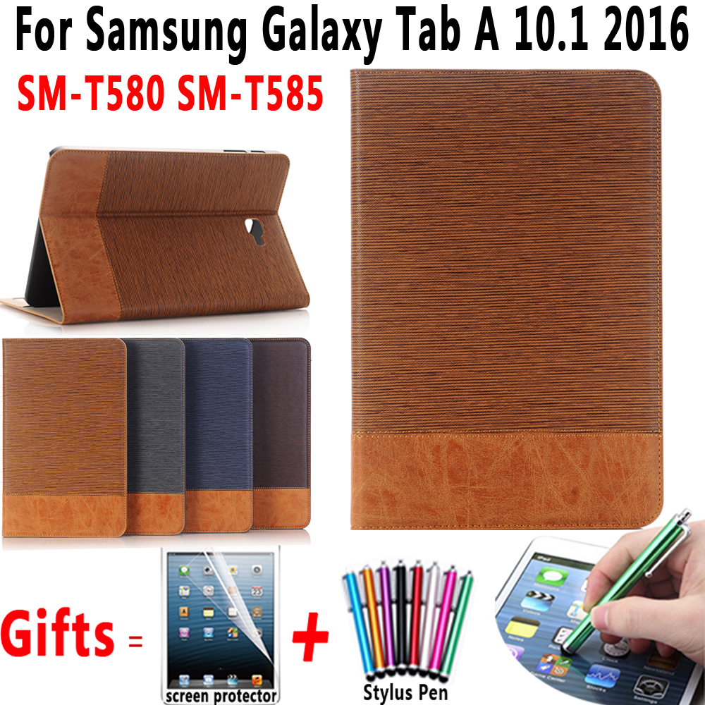 Premium Leather Flip Cover with Screen Protector Slim Bag for Samsung Galaxy Tab A 10.1 2016 T580 T585 SM-T580 SM-T585 Case