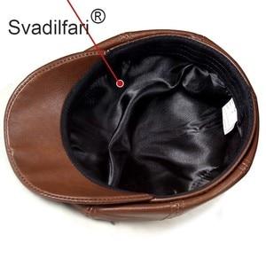 Image 4 - Retro Octagonal Genuine Leather Hat Autumn Mens Cowhide Leather Beret Elegant Fashion Student Tongue Cap Snapback Caps For Men
