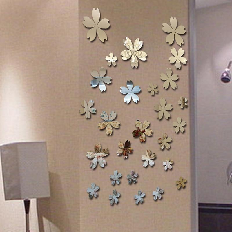 unids pequeas flores floreciendo xuanuan pega saln dormitorio habitacin de matrimonio dormitorio espejo de pared