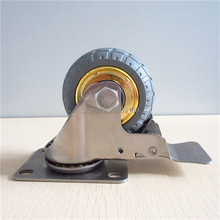 HOT 1 pcs 3 inch rubber wheel castor stainless steel screw caster with brake rubber caster цены
