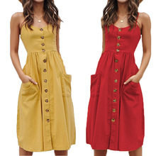 3XL Button Decoration Summer Cotton Dress Women Elegant Party Fit Flare Slim Midi Dress Boho Sleeveless Backless Beach Dresses недорого