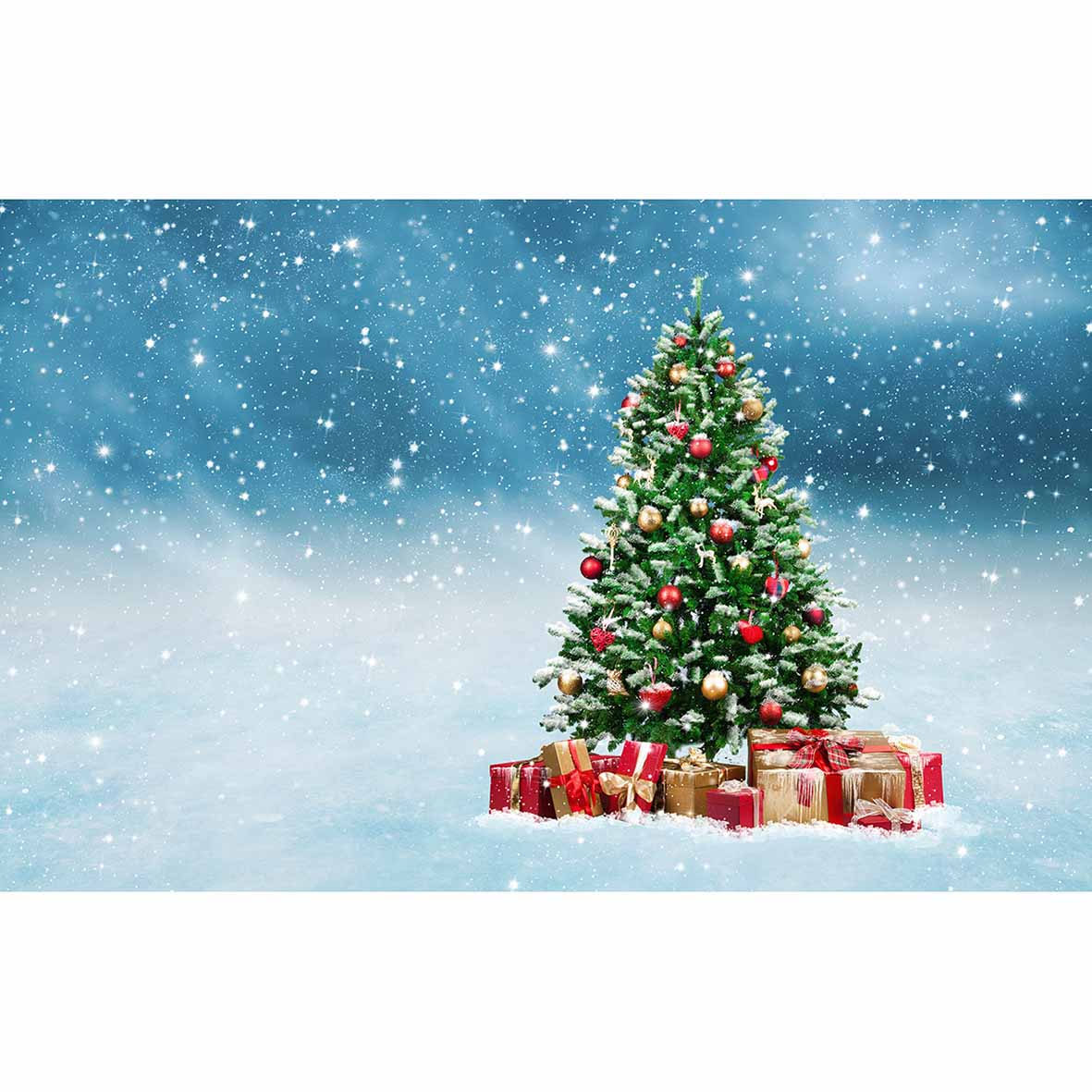 Allenjoy Photo Backdrops Winter Snow Christmas Tree Gift Children