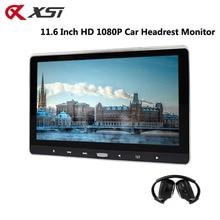 مسند رأس مشغل دي في دي للسيارة مقاس 11.6 بوصة من XST مزود بزر لمس يدعم فيديو HD 1080 P/USB/SD/IR/FM جهاز إرسال/HDMI/مكبر صوت/لعبة