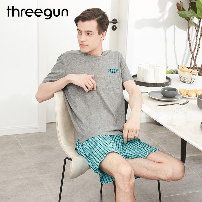 THREEGUN Men's Pajamas Sleepwear Suit Short-Sleeved Young-Man Cotton Plaid T-Shirts Hombre
