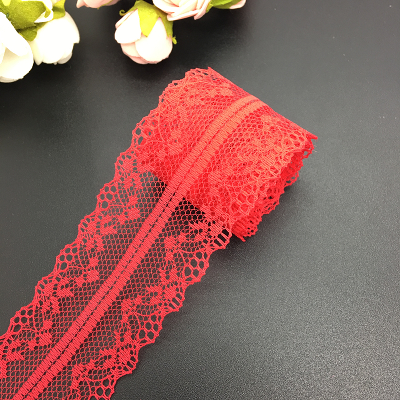10yds 40mm Wide Bilateral Handicrafts Embroidered Net Lace Trim Ribbon Wedding/Birthday/Christmas/Bow Decorations