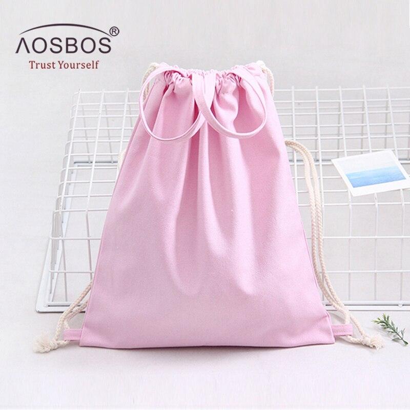 Aosbos Canvas Drawstring Backpack Men Women Sport Gym Bag Outdoor Training Fitness Shoulder Bags 2019 Durable Drawstring Bag