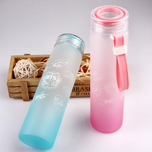 Outdoor Portable Sport Glass Water Bottles Space Large Capacity Beverage Tea Juice lemon Kids Drink 500ml Transparent Bottle