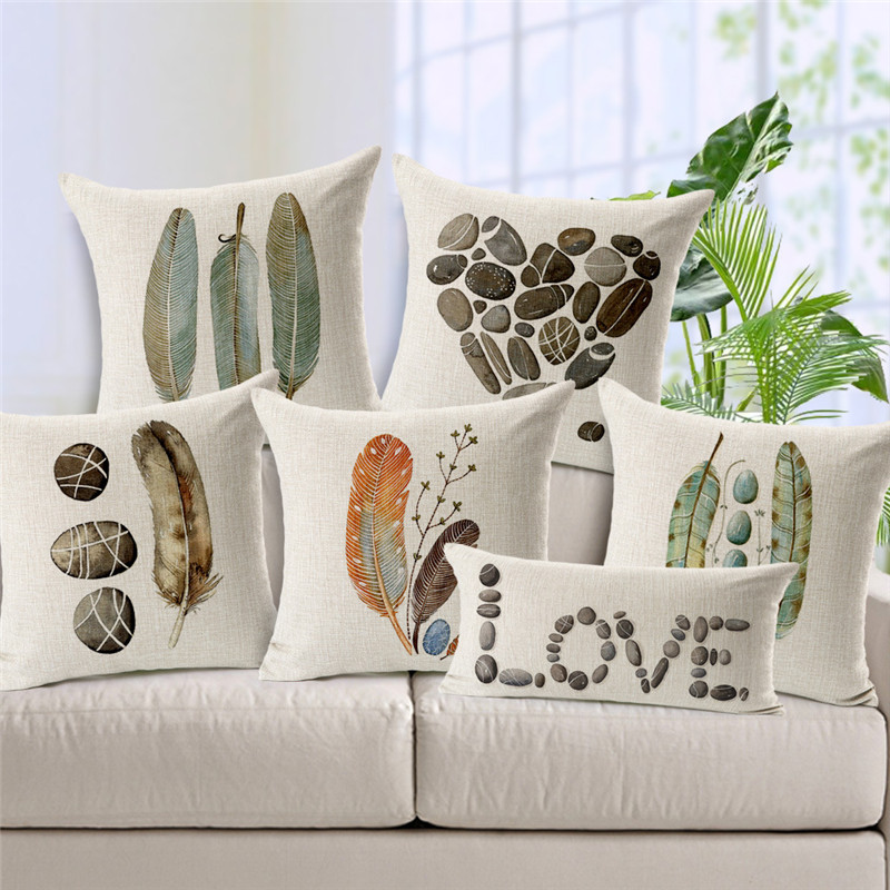 Gift Wester Indian Tribal Pattern Feather Cushion Cover Retro Heart Shape Pebble Pillow Lounge 30x50cm Linen Lounger Kussenhoes