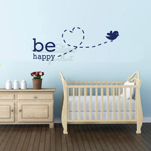 Be Happy Baby Room Quotes Wall Sticker Bird Nursery Wall Quotes Decal Removable Children Room Quote Wall Decor Cut Vinyl Q318 couple bird wall decal