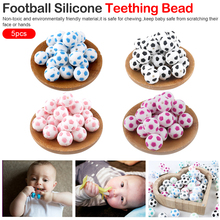 Silicone Beads 15mm Baby Teether Football Food Grade Soccer Round Bead 5PC BPA Free Bracelet Making Bite Bites