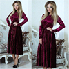 2018 Autumn Winter Evening Party Dresses Casual Red Dress Women Sexy High Wasit Bow Tie Long