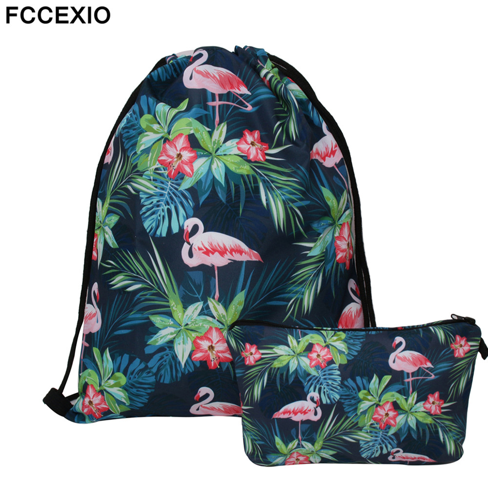 FCCEXIO New 2PCS/Set Drawstring Bags 3D Printed Flamingo Fashion Schoolbags Travel Bag School Backpack Street Shoulder Bags