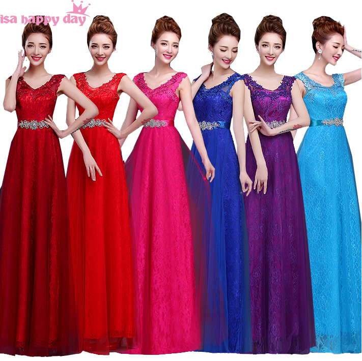 hot pink bridal lace tulle dress long bridesmaid dresses 2018 for ...