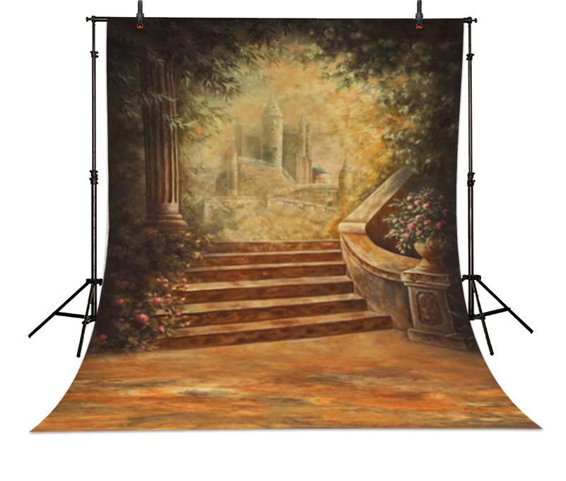 photography backdrops vinyl 5*7ft oil painting fairy style flowers door with brick floor photo background cloth baby photo props vinyl photography background fairy tale