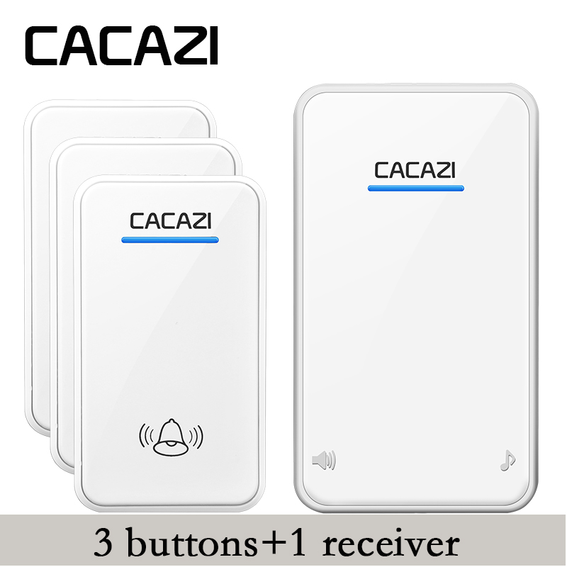 CACAZI DC Wireless Doorbell battery-operated 3 transmitters+1 receiver 300M remote door bell 48 rings 6 volume door chime  cacazi dc wireless doorbell need battery 150m remote waterproof gate door bell chime ring wireless 36 tunes 1 emitter 2 receiver
