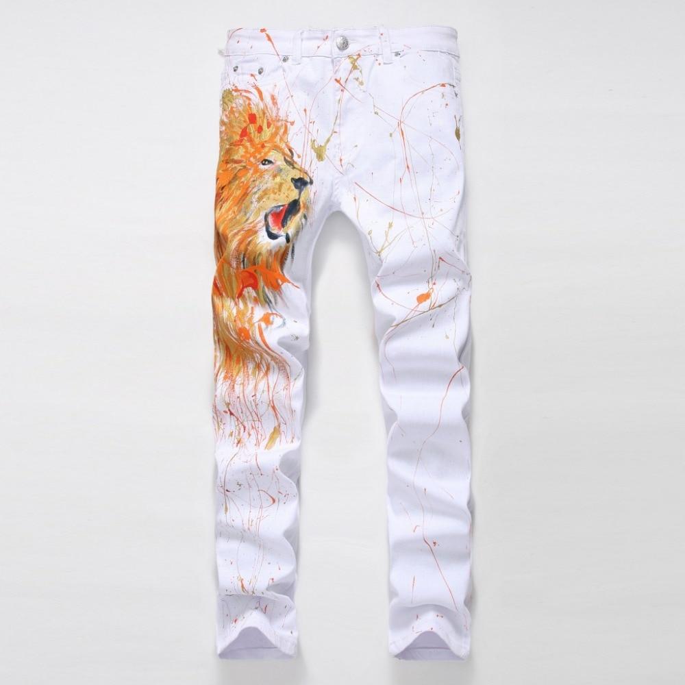 2016 NEW fashion Graffiti jeans Men Casual Locomotive jeans Animal Painting Jeans Men s Slim Straight