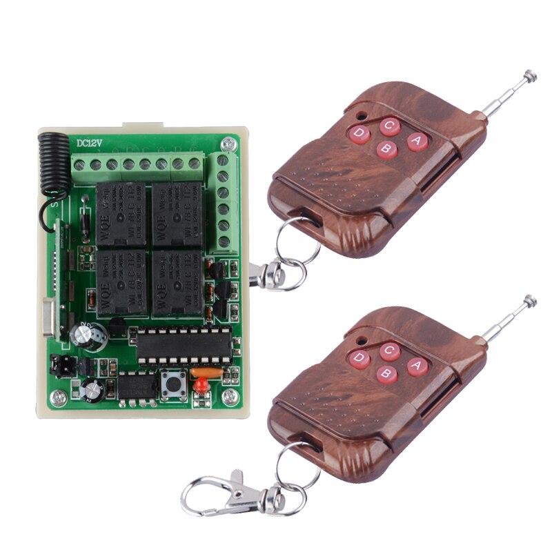Home Smart DC 12V 10A 4CH RF Wireless Remote Control Radio Controller/Switch 433M Transmitte Receiver push button switch high quality dc24v rf wireless remote control switch 4ch 10a 1pcs receiver