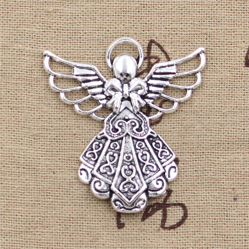 4pcs Charms guardian angel 42*38mm Antique Silver Plated Pendants Making DIY Handmade Tibetan Silver Jewelry
