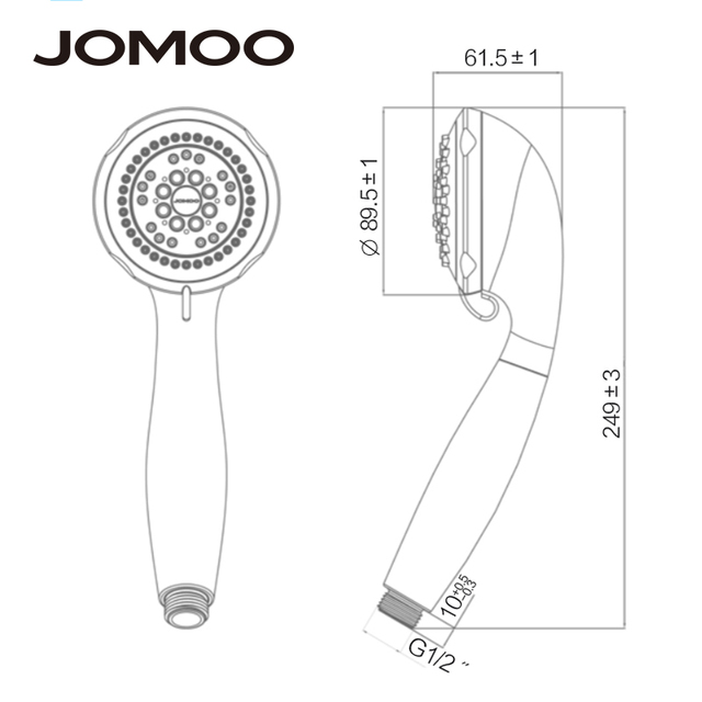 JOMOO Handheld 5-Spray Shower Head High Pressure Water Saving ABS wc Shower 3.5 inch Nozzle douche holder stainless steel hose