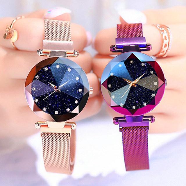 Luxury ladies watch magnet stainless steel mesh band starry sky women watches luminou shining quartz relogio feminino wristwatch