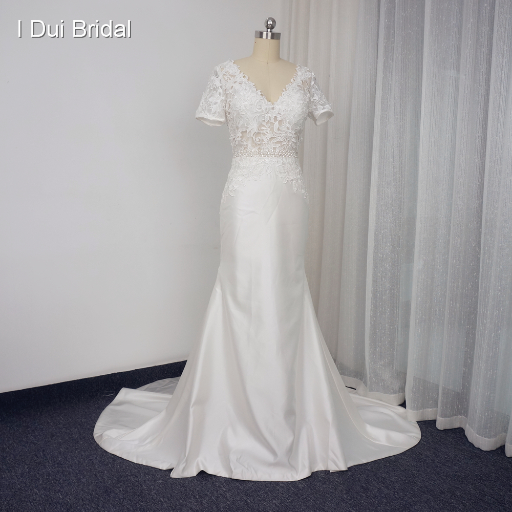 Short sleeve v neck lace sheath wedding dresses low back for Satin belt for wedding dress