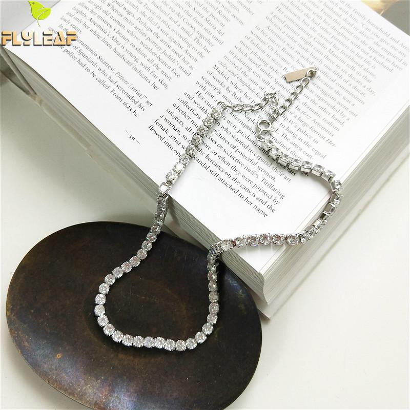 100% 925 Sterling Silver Jewelry Statement Necklace Shiny Luxury Chain Cubic Zirconia Fashion Choker Short Necklace Women100% 925 Sterling Silver Jewelry Statement Necklace Shiny Luxury Chain Cubic Zirconia Fashion Choker Short Necklace Women