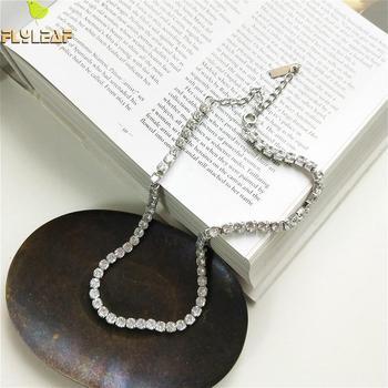 e3b075232217 100% de la joyería de la plata esterlina 925 collar de declaración  brillante de lujo cadena Zirconia cúbica moda gargantilla collar de las  mujeres