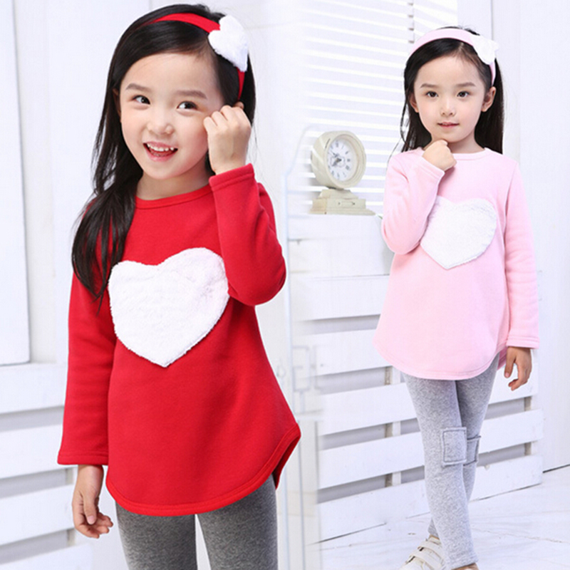 3pcs 1pc Hair Band+1pc Shirts+1pc Pants Children's Clothing Set Girls Long Sleeve Clothes Suits Red Pink Heart Cotton