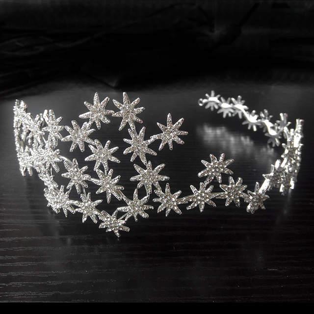 5cd406805800 Online Shop SLBRIDAL Art Deco Shining Crystal Rhinestone All Stars Bridal  Tiara Headband Headpieces Wedding Princess Queen Crown Bridesmaids
