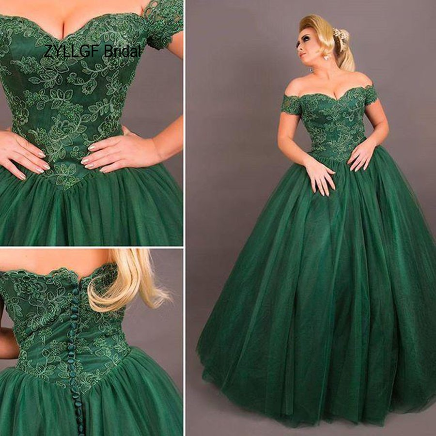 ZYLLGF Bridal Ball Gown Sweetheart Emerald Green Evening Dresses ...