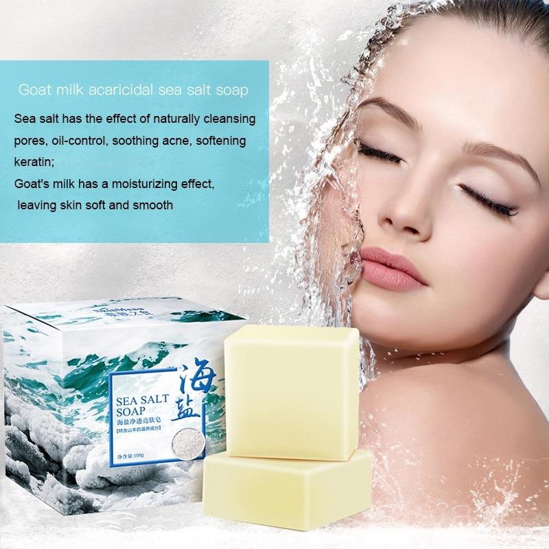100g Sea Salt Soap Cleaner Removal Pimple Pores Acne Treatment Goat Milk Moisturizing Face Wash Soap Base Skin Care Savon Au Hot