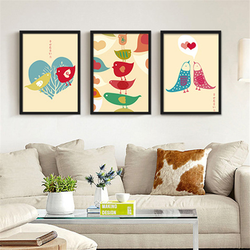 Love birds pink based canvas mural art poster no frame for Canvas mural painting